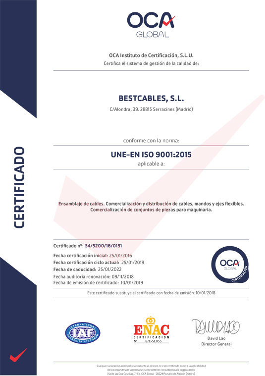 Certificacion ISO 9001 – Bestcables